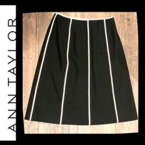 Ann Taylor Petite Skirt, Black with White Piping